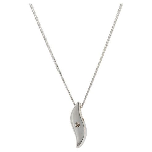 Sterling Silver And Diamond Wave Slider Pendant