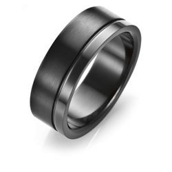 Stainless Steel Matt/Polish Black Ring, T