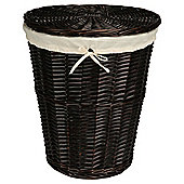 Wicker Laundry Basket, Chocolate Coloured
