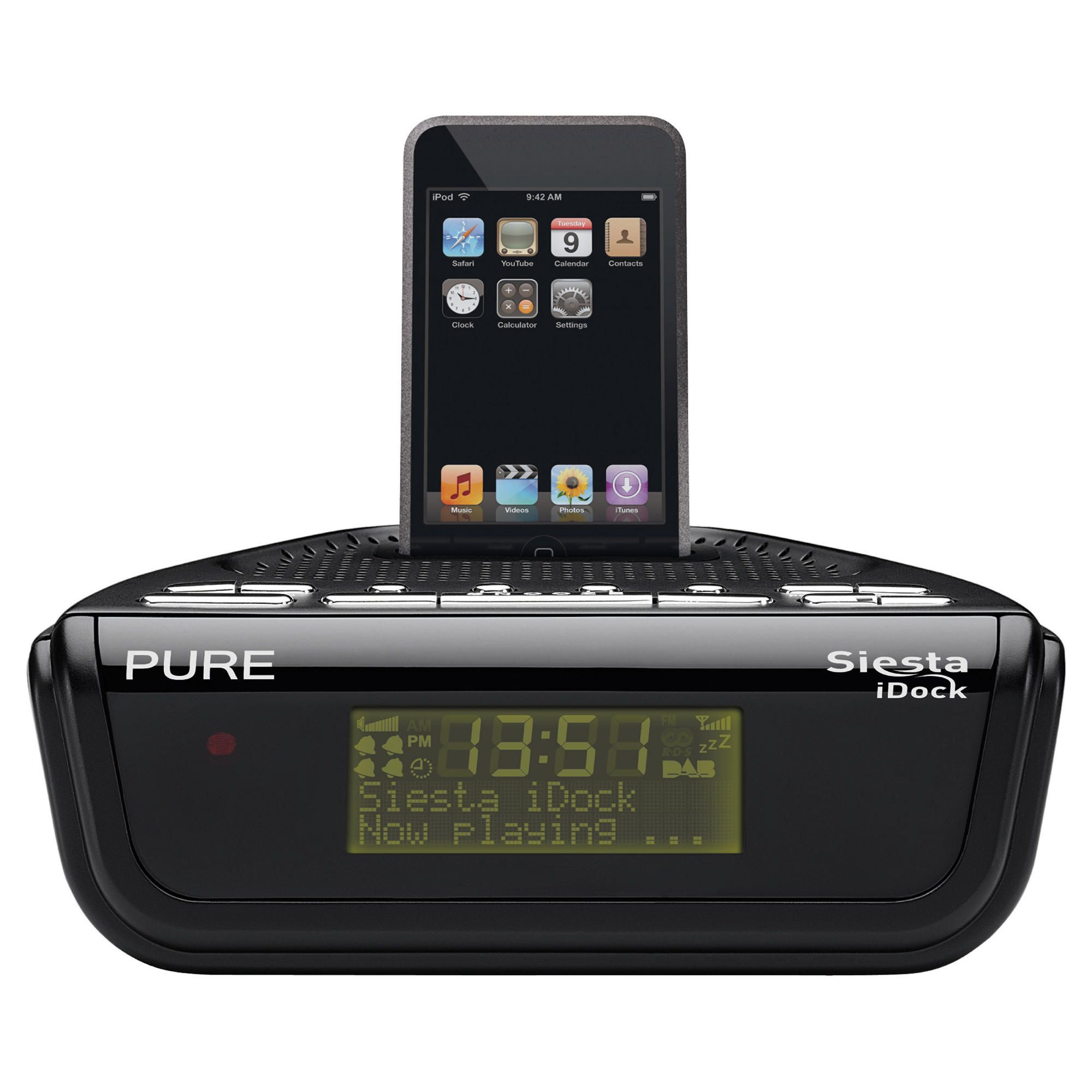 pure siesta idock dab fm ipod alarm radio best deals on dab radio. Black Bedroom Furniture Sets. Home Design Ideas