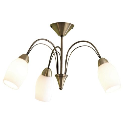 Tesco Lighting Tulip Ceiling Fitting, Antique Brass