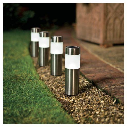 Tesco Stainless Steel Superbright Solar Bollard, 4 pack