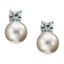 Pave Silver Tone Pearl And Crystal Earrings