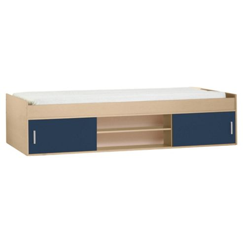 Fresno Cabin Bed Frame, Blue & Maple-effect