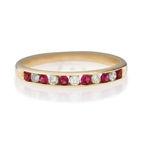 9ct Gold Diamond And Ruby Eternity Ring, J