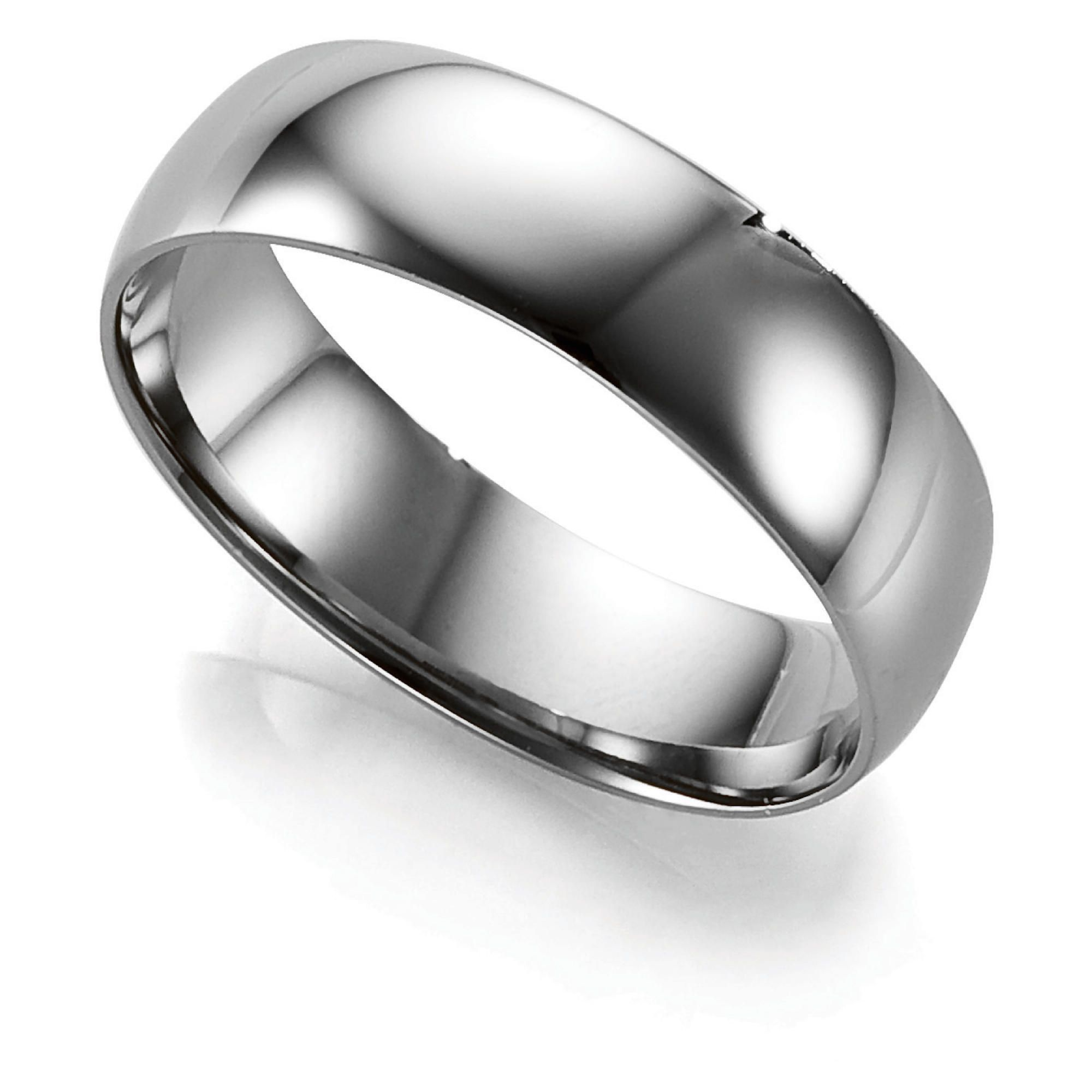 Palladium 6mm D-Shape Gents Ring, T at Tesco Direct