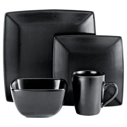 Tesco Mono Matt Square 16 Piece, 4 Person Dinner Set - Black.