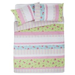 Tesco Rosebud Print Single Duvet Set, Pastel - Pink