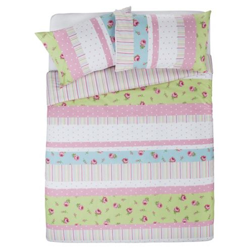 Tesco Rosebud Print Single Duvet Cover Set, Pastel - Pink