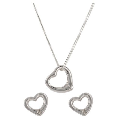 Sterling Silver And Diamond Heart Earring & Pendant Set