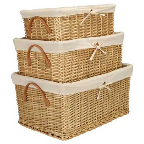Tesco Basics  Set of 3 Wicker Baskets Honey Coloured