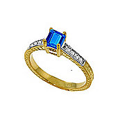 QP Jewellers Diamond & Blue Topaz Ornate Gemstone Ring in 14K Gold