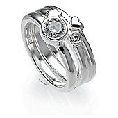 Sterling Silver Cubic Zironia, Star And Heart Stacking Rings, Small
