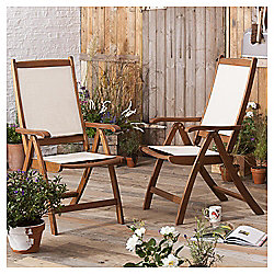 Windsor Wood & Fabric Reclining Garden Dining Chair