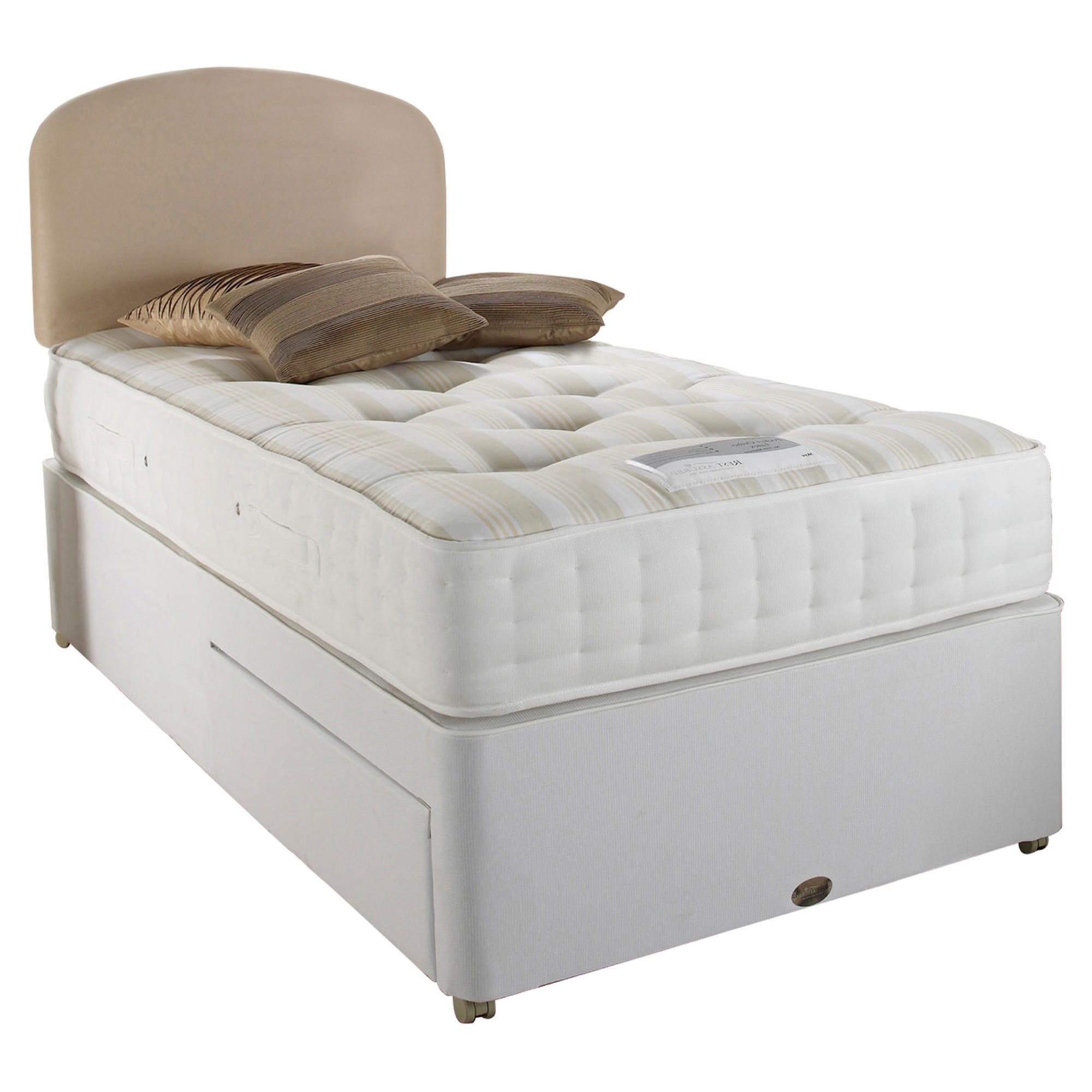 Home and garden furniture sealy posturepedic ortho for Single two drawer divan bed
