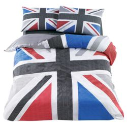Tesco Union Jack Print Single, Black & Grey