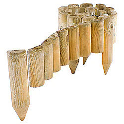 Rowlinson Spiked Wooden Border Roll, 4 pack, 180cm