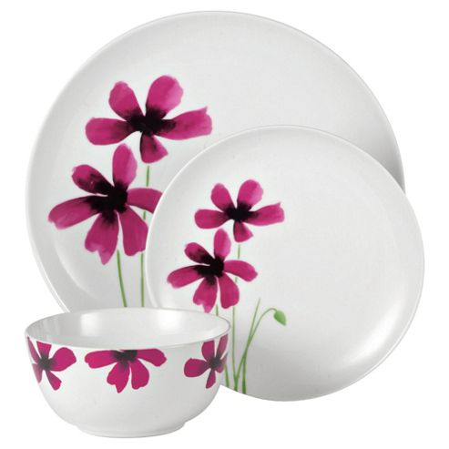 Tesco Watercolour Poppy 12 Piece, 4 Person Dinner Set, White & Pink