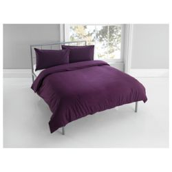 Tesco Plaindye Duvet Set Single, Aubergine