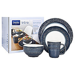 Denby Intro 16 Piece, 4 Person Textured Dinner Set, Dark Blue