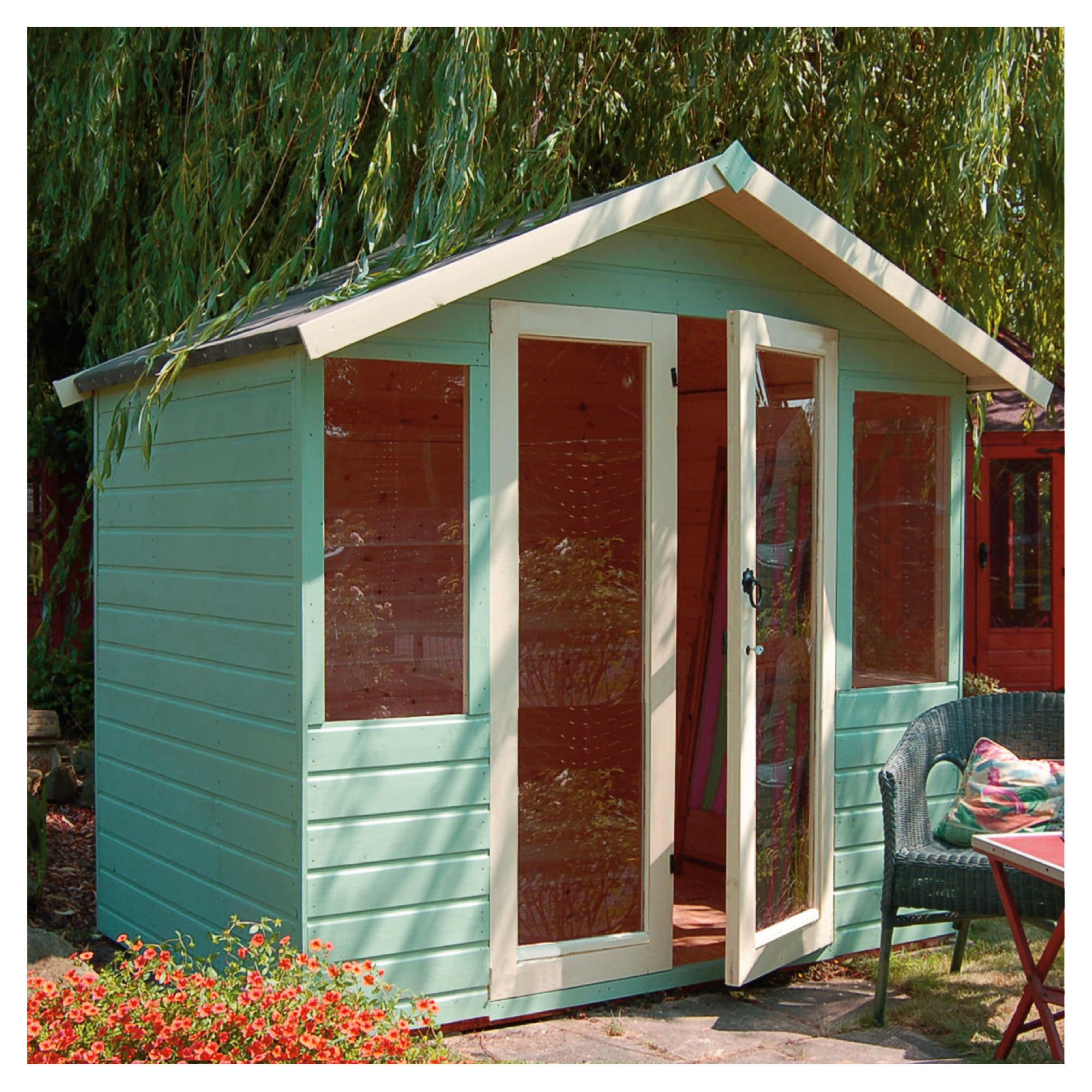 Mercia 7x5 Summerhouse 12mm with Fully glazed doors - exclusive at Tesco Direct