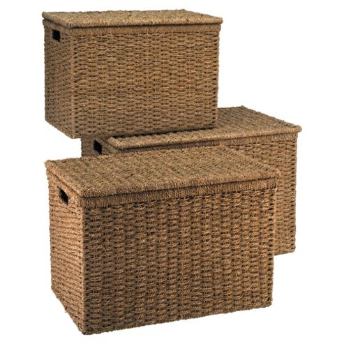 Tesco Seagrass Lidded Baskets, Set of 3
