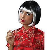 Black bob wig with white Fringed Wig