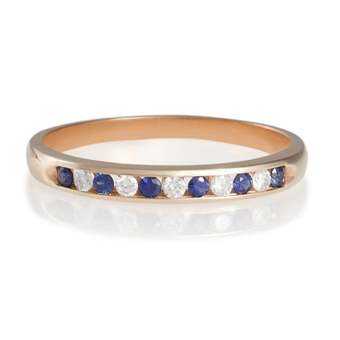 9ct Gold Diamond And Sapphire Eternity Ring. J