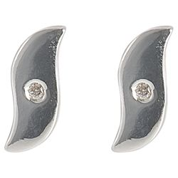 Sterling Silver And Diamond Wave Stud Earrings