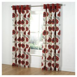 Tesco Poppy Print Unlined Eyelet Curtains W168xL137cm (66x54