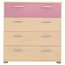 Fresno 4 Drawer Chest, Pink & Maple-Effect