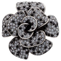 Pave Silver Tone Black And White Rose Brooch