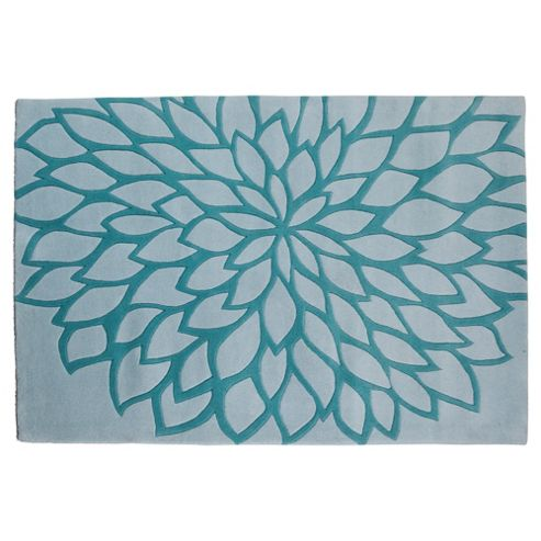 Tesco Rugs Large Flower Rug, Teal 150X240Cm