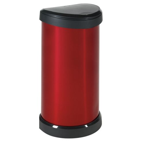 Curver Deco 40 Litre Touch Top Bin, Red