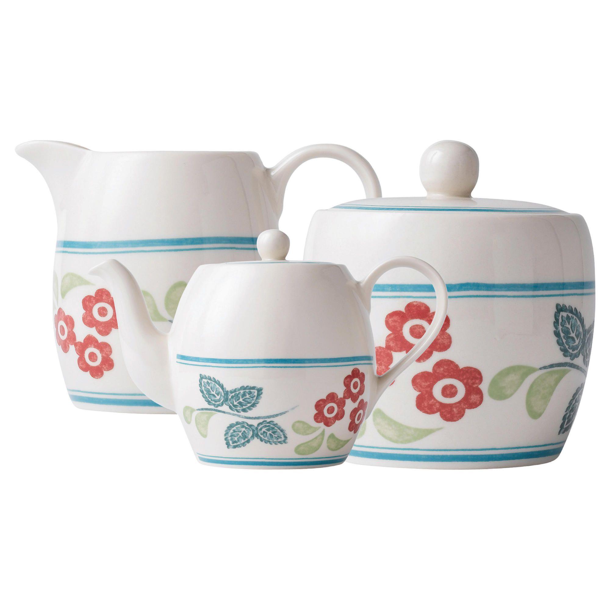 Johnson Bros Farmhouse Kitchen Red Daisy Teapot Set