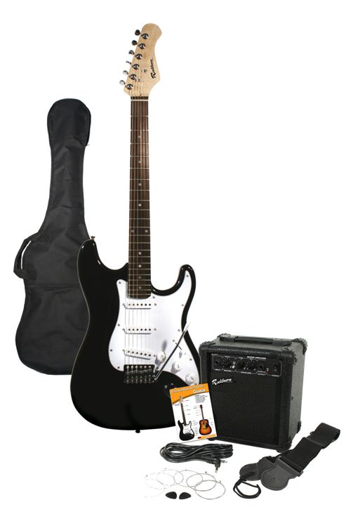 Rockburn ST Style Electric Guitar Pack - Black