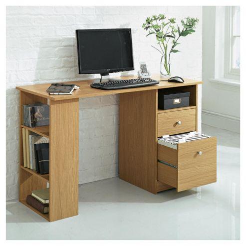 Isaac Straight Desk, Oak Effect