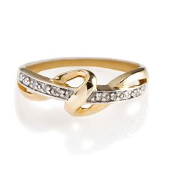 9ct Gold 10Pt Diamond Twist Knot Ring, S.