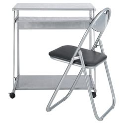 Delta Computer Desk, Silver  & Folding Chair Set