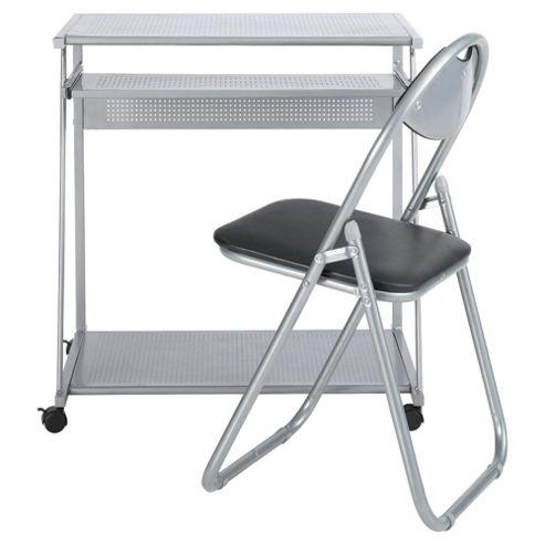Delta Computer Desk, Silver  & Folding Chair Set