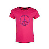 Flower Peace Kids Tee Childrens Girls Cotton Printed T-Shirt Tee Shirt Tee - Pink