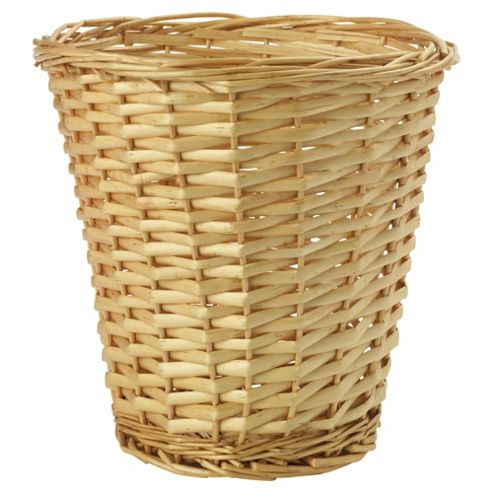 Tesco Basics Wicker Waste Paper Bin, Honey