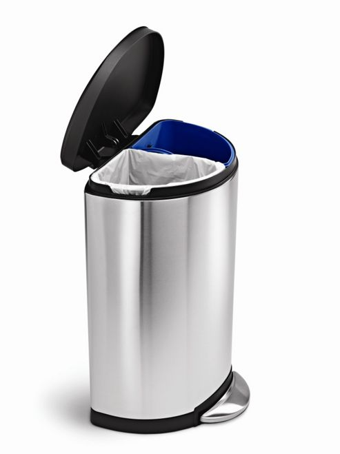 Simplehuman 18.5 Litres Semi Round Recycler Bin in Brushed Stainless Steel