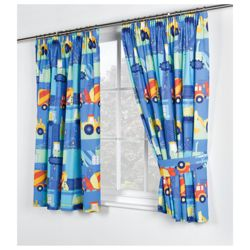 Kids Trucks And Diggers Printed Curtains