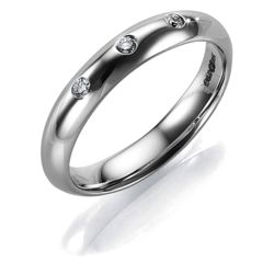 9ct White Gold Diamond 4mm Ladies Ring, J