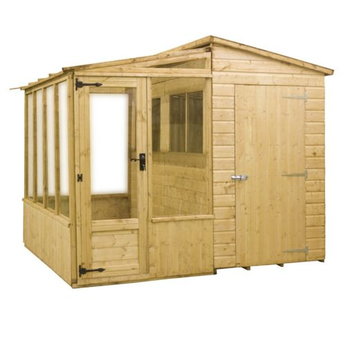 Buy mercia wooden combi shed and greenhouse 8x8ft from for Garden shed tesco