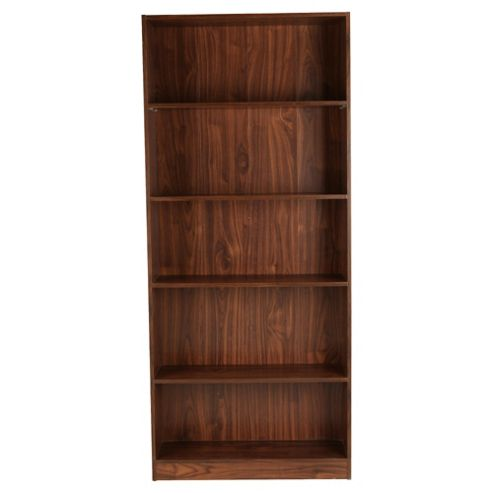 Fraser Walnut Effect 5 Shelf Bookcase, Wide