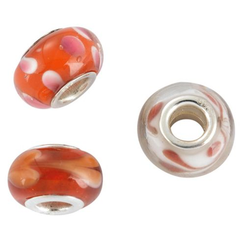 Silver Red Glass Charm Bead 3 Pack