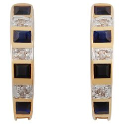 9ct Gold Diamond And Sapphire J-Hoop Earrings