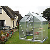 Nison EaZi-Click 4X6 Aluminium Polycarbonate Greenhouse in Silver including Base